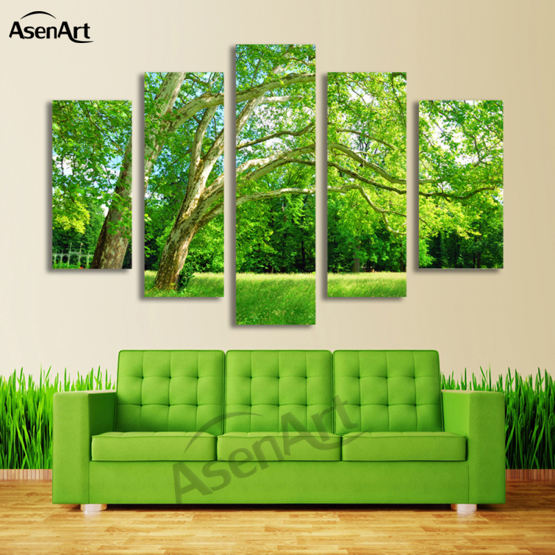 Us 20 7 51 Off 5 Panel Wall Art Green Tree Painting Canvas Prints Wall Paintings Picture For Living Room Modern Home Decor No Frame In Painting