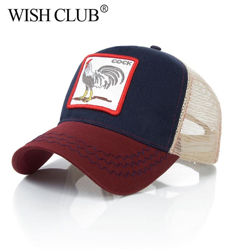 WISH CLUB Baseball Cap For Women Summer Mesh Men Embroidery Animal Bones Cotton