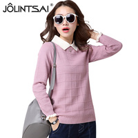 JOLINTSAI Women Pullover Sweater Long Sleeve Turn Down Collar Female Sweaters Knitted Warm Tops 2017 New
