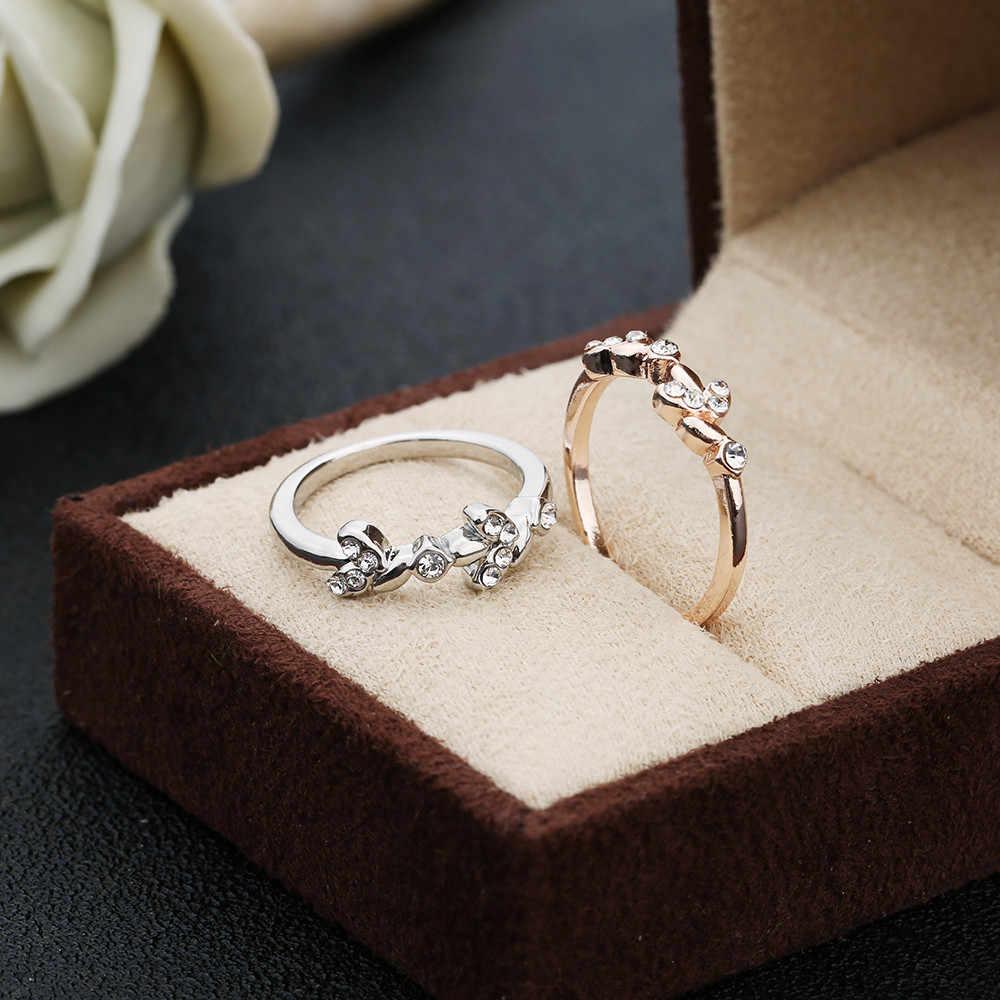 2019 Rose Gold Silver Cubic Zircon Leaf Design แหวนแต่งงานผู้หญิงเครื่องประดับ Bijoux ของขวัญ Mujer Anillos