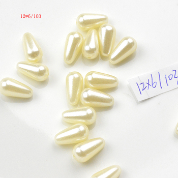 FLTMRH 20pcs 6*12mm ABS Ivory Imi tation Pearls Water Teardrop Beads Straight Hole Beads For DIY image