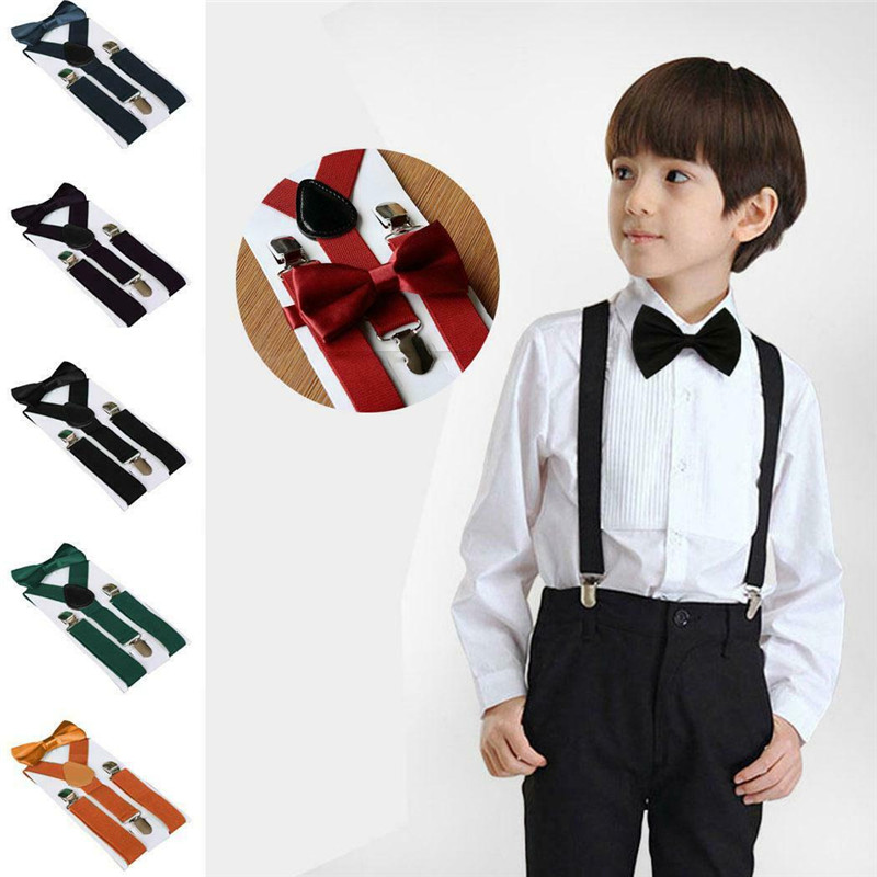 Kids Adjustable Elastic Suspenders With Bowtie Boys Braces Girls Suspenders Baby Wedding Ties Accessory Children Bow Tie Set