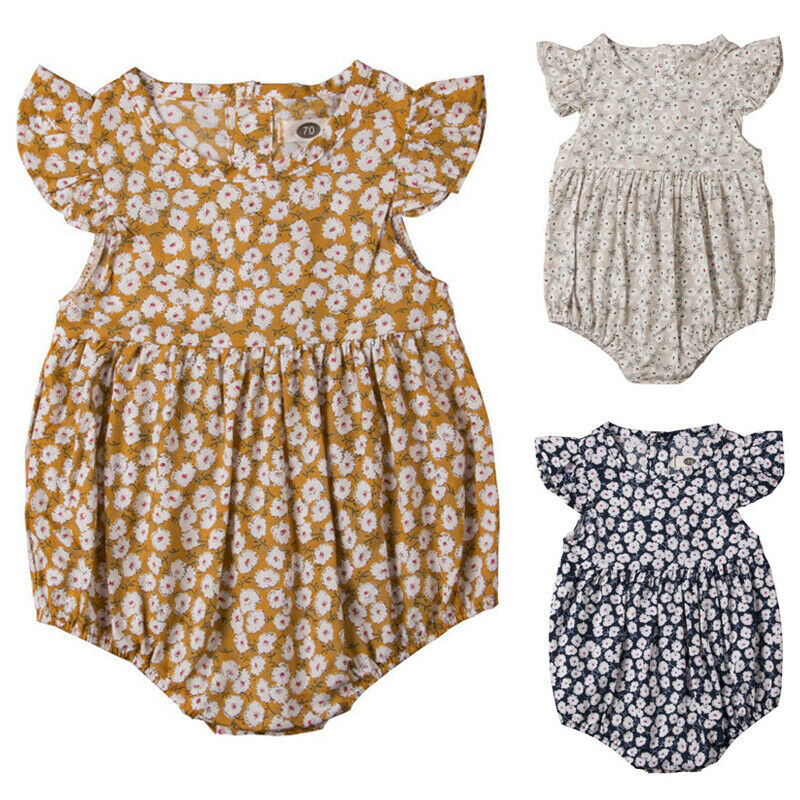 Infant Newborn Baby Girls Sleeveless Floral Ruffle Romper Jumpsuit One-Piece Outfits Summer Clothes