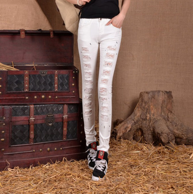 #1340 White ripped jeans with lace Slim 2016 Spring Skinny denim jeans womens Ripped jeans for women Fashion Pantalon femme