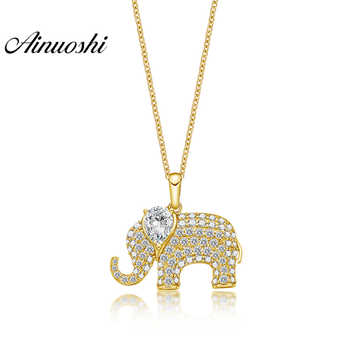 AINUOSHI 14K Solid Gold Elephant Pendant Pear Cut SONA Diamond Women Men Jewelry Cute Animal Charm Separate Little Pendant - DISCOUNT ITEM  47% OFF All Category