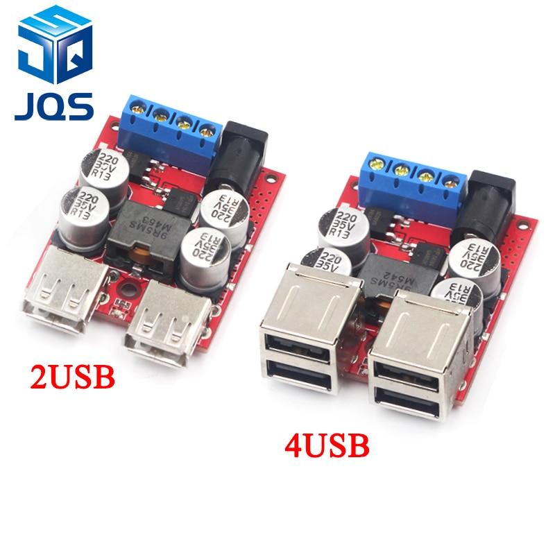 DC-DC Vehicle Charging Board 8V-35V 5V 8A Power Supply Depressurization Module 4 Port USB Output Mobile Charger