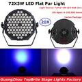 20XLot новейший Led Par свет не водонепроницаемый 72X3W RGB 3IN1 пластиковые плоские Par Банки сценический эффект Освещение DJ Дискотека Свет