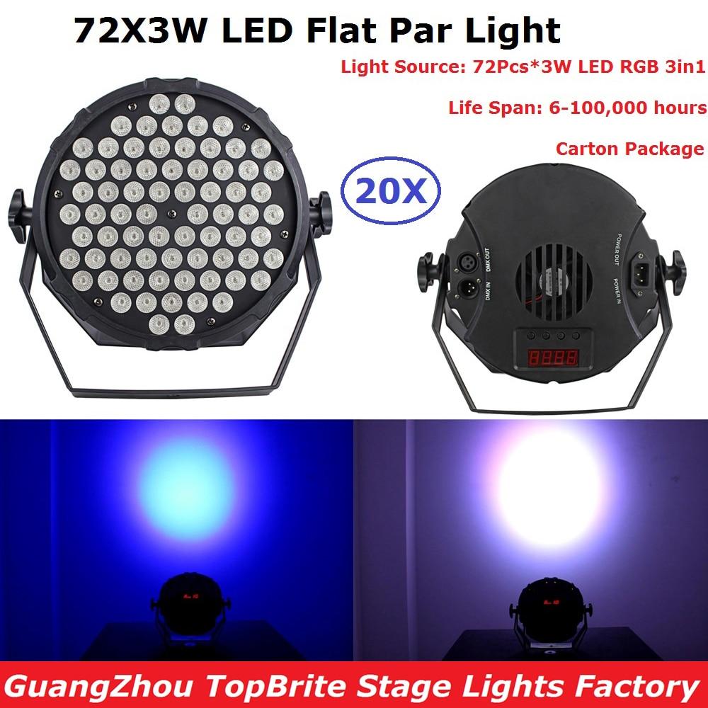 20XLot Newest Led Par Light Non-Waterproof 72X3W RGB 3IN1 Plastic Flat Par Cans Stage Effect Lighting DJ Disco Party Lights