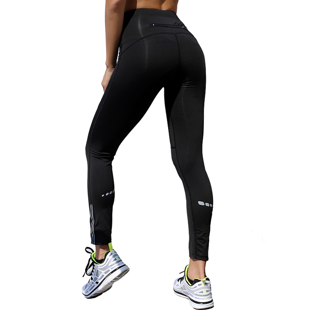 ccc4c4613f Women reflective yoga leggings fitness workout pants sports running high  elastic dry quick compression tights gym pantalon femme