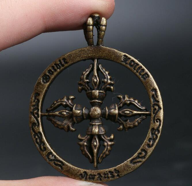 41MM Small Curio Chinese Fengshui Bronze Zodiac Animal Dragon Head Axe Pendant