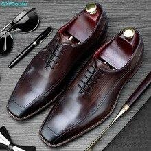 QYFCIOUFU Hot Handmade Classic Italian Shoes Men Fashion Party Office Wedding Dress Shoe Male Genuine Leather Oxford