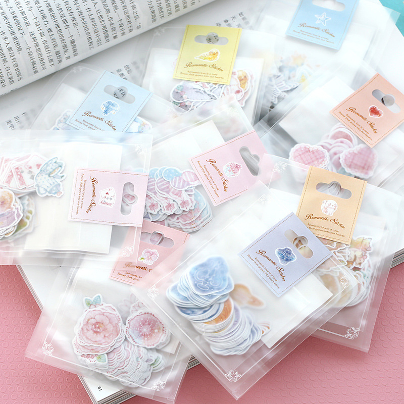 70pcs/ pack Kawaii Stickers Romantic Small Sticker Painted Watercolor Diary Photo Decorative Stickers image
