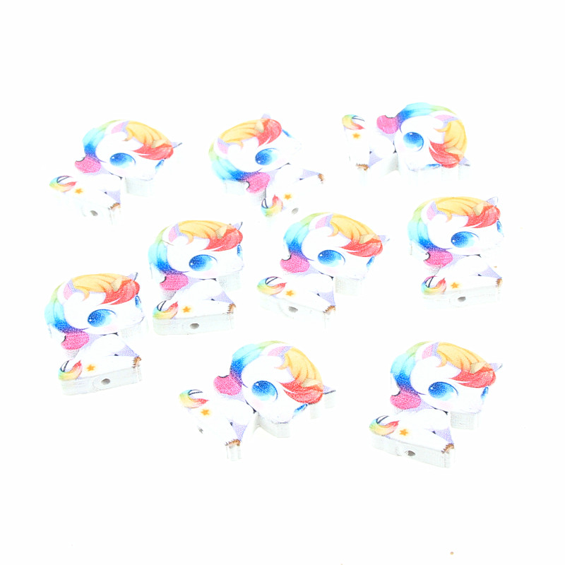 Sunny Diy Baby Unicorn Wood Beads 20pcs 28x23mm White Wooden Beads For Jewelry Making Handmade Baby Rattle Pacifier Clip