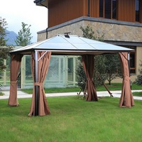 10x12ft Outdoor Hardtop Gazebo Canopy Curtains Aluminum Furniture with Netting for Garden,Patio,Lawn sun shade pavilion with LED