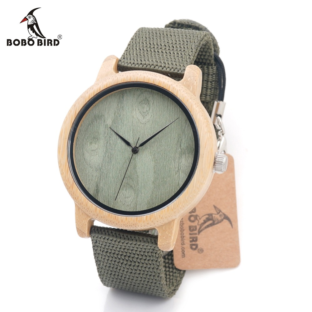 BOBO BIRD CaD12 Bamboo Wood Watches for Women Men Brand Designer Green Nylon Straps Wooden Dial Face Watch OEM Dropshipping