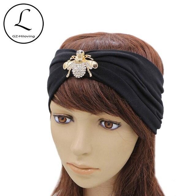 GZHILOVINGL Brand Headwear Cotton Headband Hair Accessories Black Stretchy  Metal Bee Rhinestone Pearl Beb Headbands For Women a666cfe71df