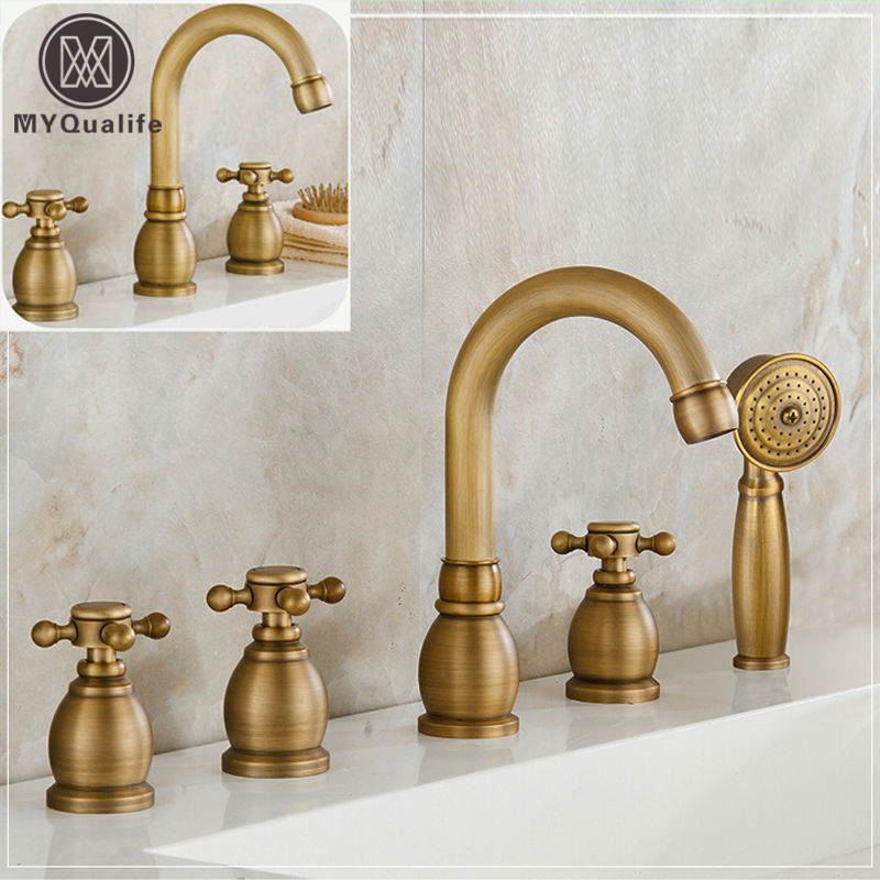 Best quality Bathroom Tub Mixer Faucet Dual Handle Basin 2 Hole Mixers Tap Deck Mount Antique Brass Finish