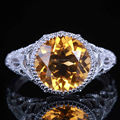 HELÓN Clásica simple cristal amarillo natural anillos de plata de ley 925 natural citrino anillo de partido de las mujeres de joyería fina