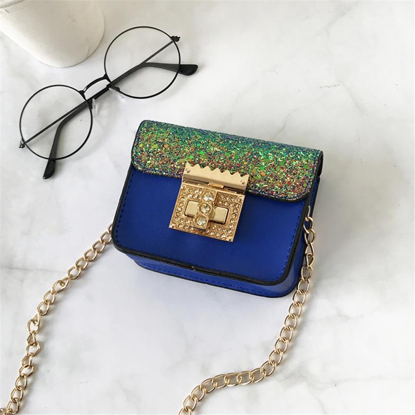 Детская Искусственная кожа пайетки мини сумка для девочек сплошной цвет пряжки небольшой площади сумка # F