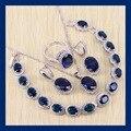 Reginababy Nobre Azul criado Sapphire Pulseiras Conjuntos de Jóias Para As Mulheres Angelicais cor Prata Brincos/Anel/Colar/Pingente