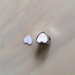 Image 4 - 승화 빈 심장 사진 구슬 금속 슬라이더 큰 구멍 5mm 유럽의 매력 뜨거운 전송 인쇄 재료 15 개/몫