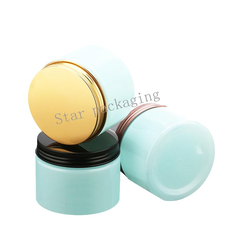 30pcs 150g light blue Cream Jar 150cc PET Jar Cream Bottle with aluminum lids different size