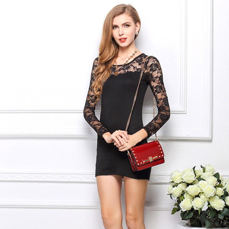 Online Shop 2014 Autumn Woman Black Sheath Lace Dress Lady Mini ...
