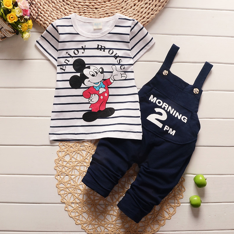 Cartoon Mickey Baby Boy's Clothing Set New Toddler Boys Girls Clothes Spring Summer Fashion Kids Clothes T-shirt+Bib shorts 1-4Y new bodie summer brand boys girls clothing set boys mickey t shirt striped shorts boys sets for summer