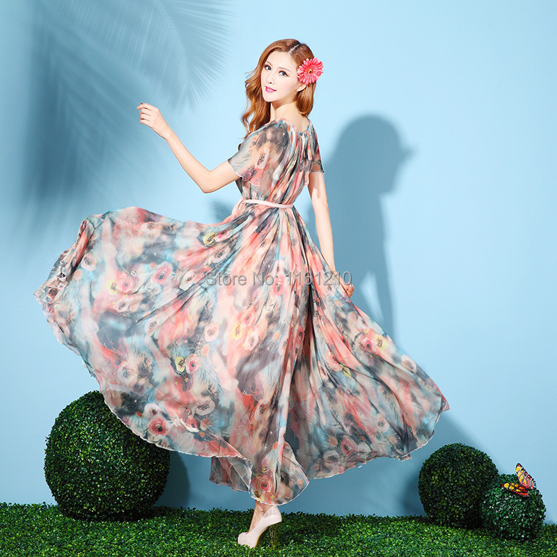Summer Floral Chiffon Holiday Beach Bridesmaid butterfly Sleeved ...