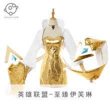 2019 New Hot Sale LOL KDA Group Evelynn Sexy Gold Cosplay Costume Girls Dress+Coat Size S-XXL in stock