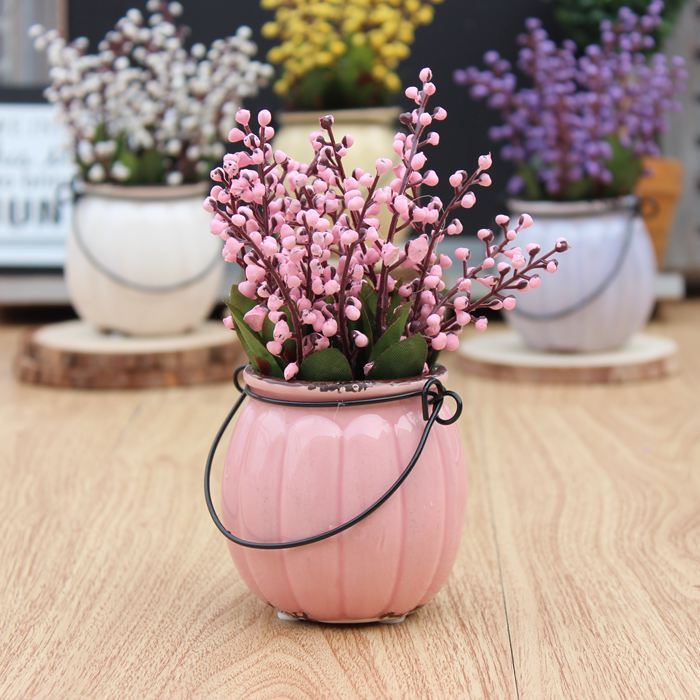 Country style vintage pumpkin ceramic bonsai artificial plants desk ...