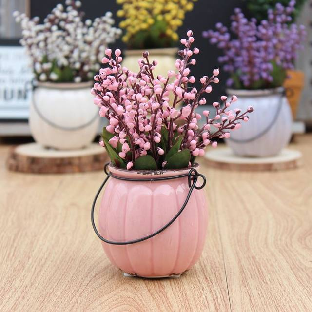 Online Shop Country style vintage pumpkin ceramic bonsai artificial ...