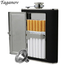 Creative Cigarettes Case 6oz 5oz stainless steel hip flask whiskey liquor bottle Black PU Leather with Funnel Home Outdoor Sport