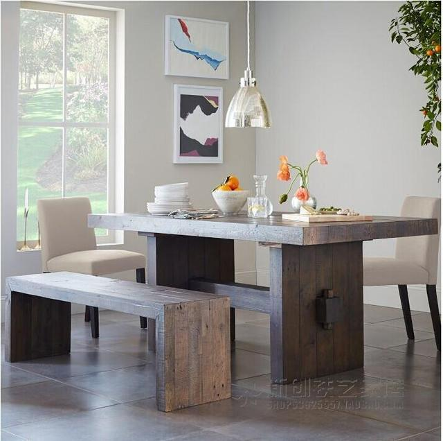 US French Country Villa Club Retro Solid Wood Dining Tables And Chairs Combination Of New Zealand