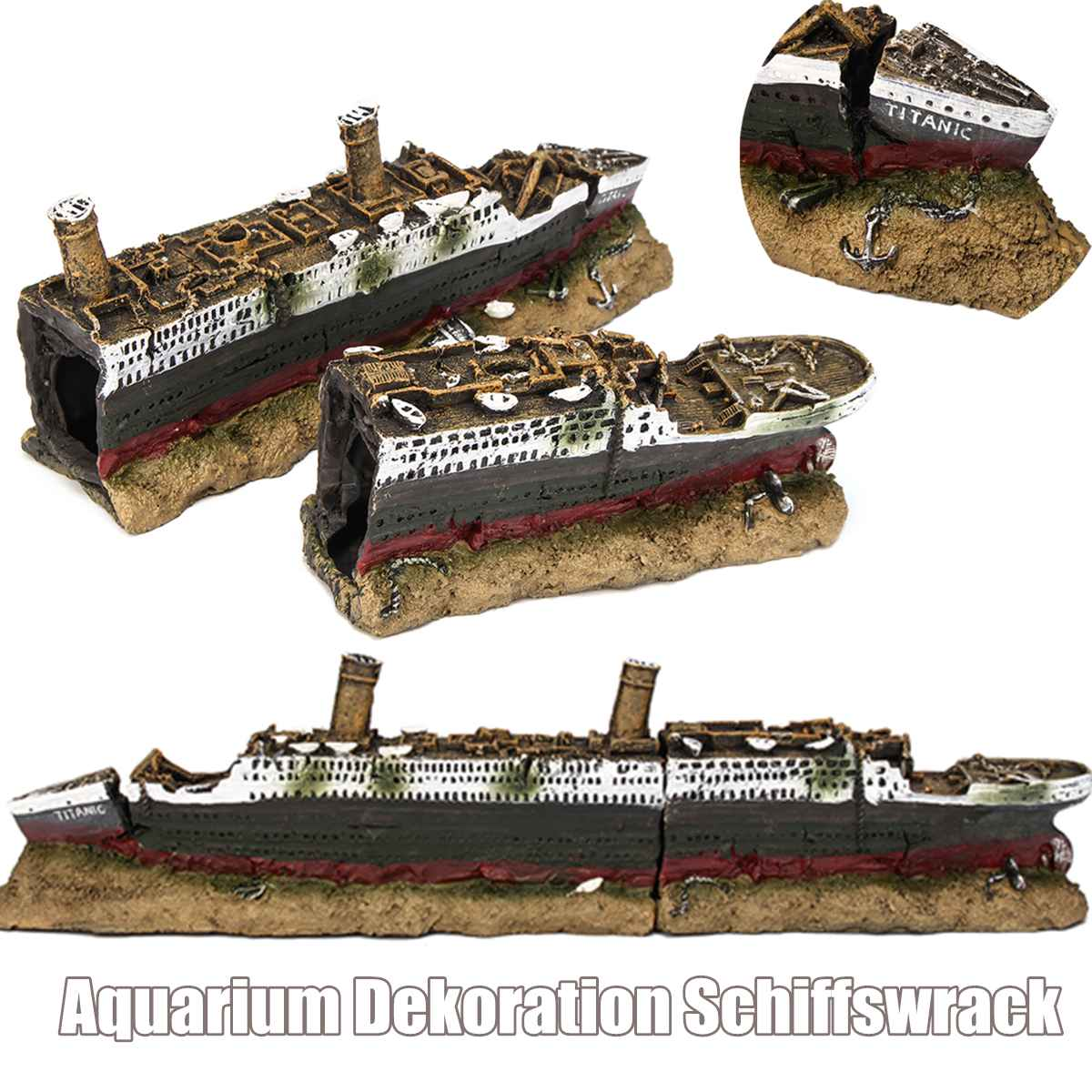40cm Aquarium Fish Tank Polyresin Titanic Boat Ship Wreck Ornament