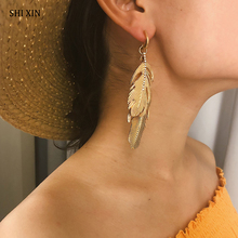 SHIXIN Punk Metal Feather Earrings for Women 2019 Unique Designer Dangle Big Pendant Fashion Drop Earring Female Earing