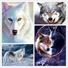 5d diy diamond painting animal snow wolf round mosaic cross stitch embroidery Siberian