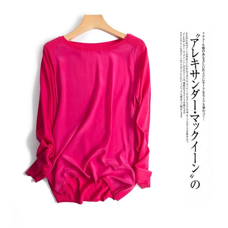 Otoño nueva mujer de alta calidad color sólido ultra fino 16 pin hechizo suéter de seda-in Blusas y camisas from Ropa de mujer    1