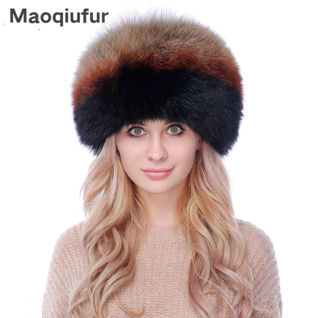 661182eef188e Women winter fur cap real fox fur hat with fur tail 2017 new fashion  Russian ear