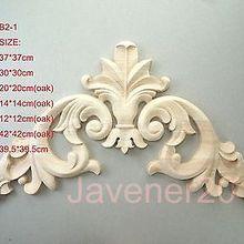 B2-1-12x12 см дуба дерева резные Угловые Onlay аппликация Неокрашенная рама, дверь наклейка рабочий плотник цветок