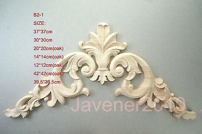 B2-1 -12x12cm Oak Wood Carved Corner Onlay Applique Unpainted Frame Door Decal Working Carpenter Flower
