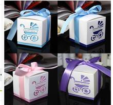 100 pcs/lot baby shower pink purple blue carriage ribbon bow Wedding favor paper box favour gift candy boxes
