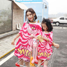 купить Cartoon Tiger Dresses Mother Daughter Mommy and Me Clothes Family Matching Outfits Look Loose Mom Mum and Girls Dress Clothing по цене 737.29 рублей