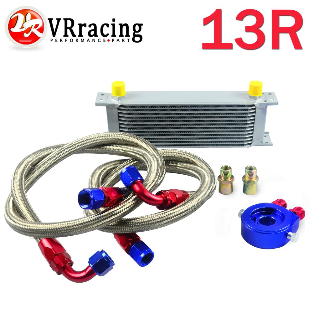 VR RACING AN10 OIL COOLER KIT 13ROWS TRANSMISSION OIL COOLER SILVER OIL FILTER ADAPTER BLUE STAINLESS