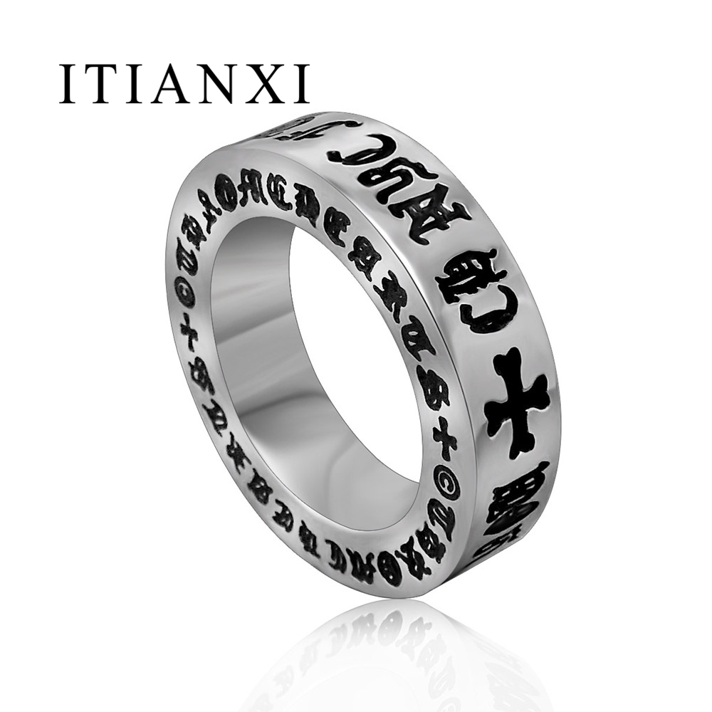 ITIANXI New Design Roman Alphabet Man Ring Vintage Black Ring Fashion Noble Luxury Elegant Charm 316L Titanium Steel Unisex Ring