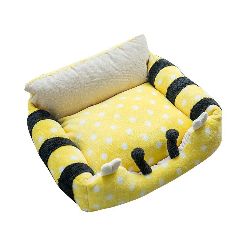 Washable صغير كبير كلب سرير للقطط جرو الدافئة الأرائك تشيهواهوا الكلب سلة أريكة حصيرة الأصفر النحل الوردي الماعز الأبيض الأبقار