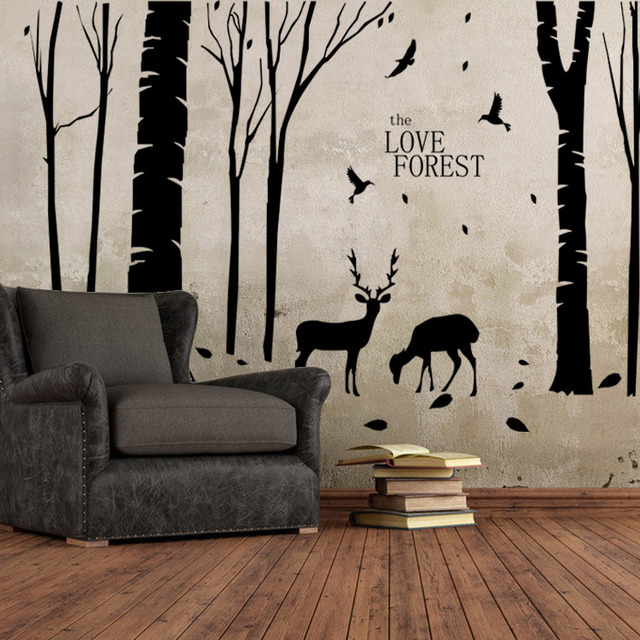 Home Decoration Vinyl Deers In Forest Wall Sticker Removable Cheap PVC  House Decor Trees And Animal