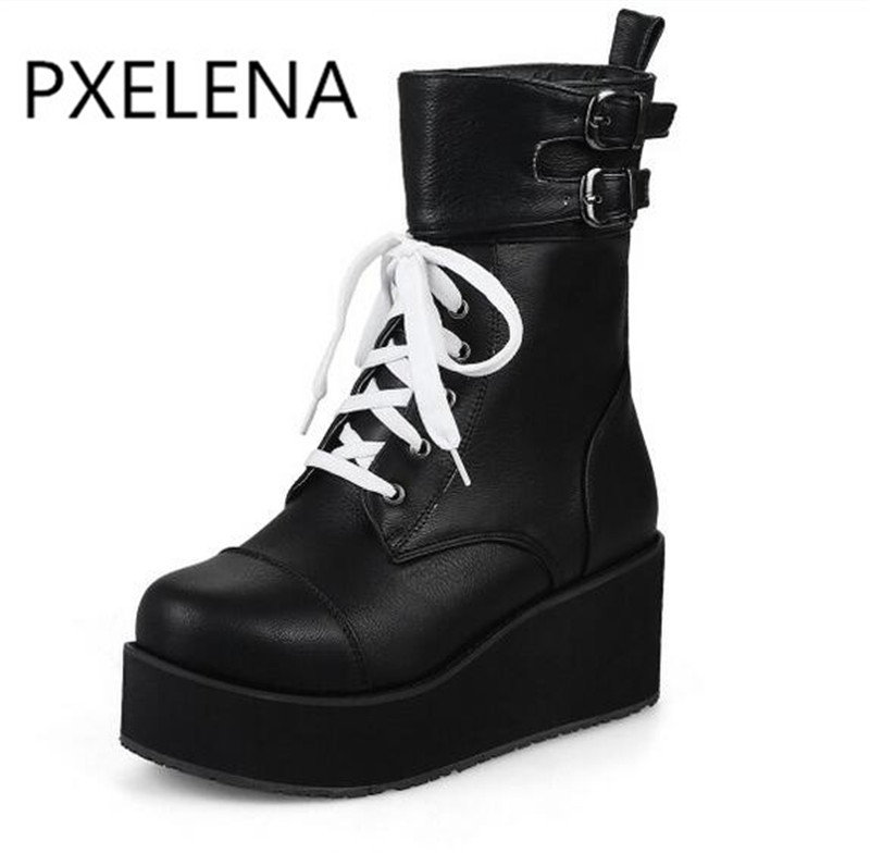PXELENA Rock Punk Gothic Boots Women Shoes Platform Creepers Wedge High Heels Martin Boots Lace Up