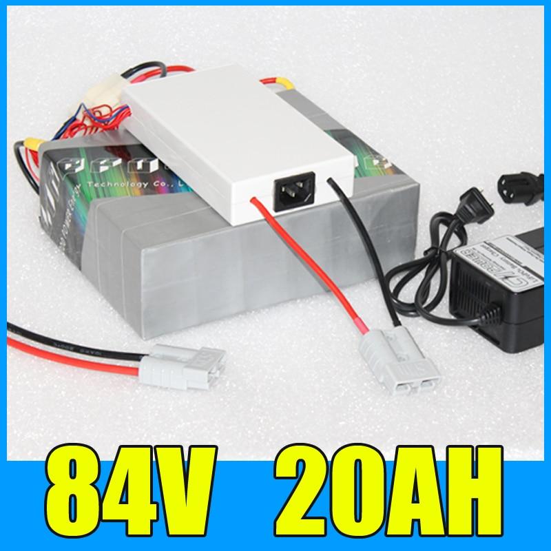 84 볼트 20AH 리튬 배터리 팩, 92.4 볼트 2000 와트 전기 자전거 스쿠터 태양 에너지 배터리, 무료 BMS 충전기 배송