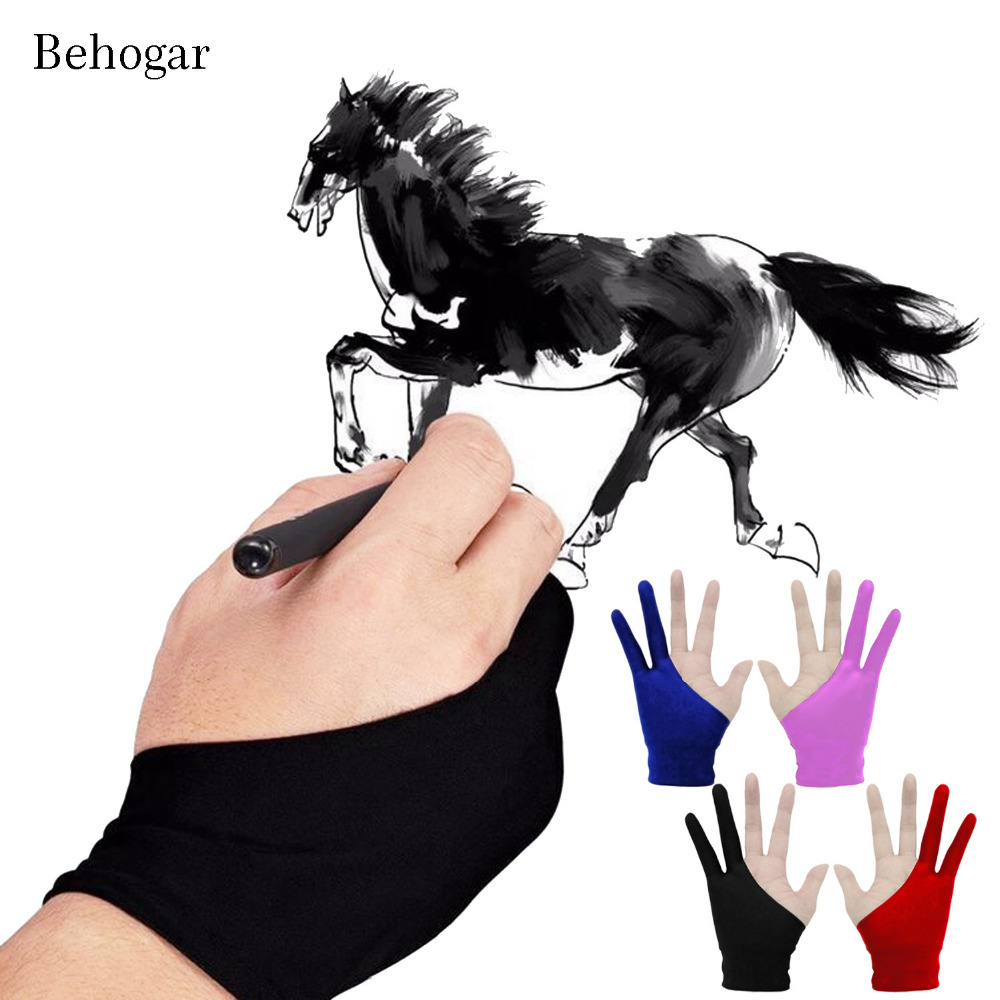 Behogar 4pcs Artist Gloves 2-fingers Drawing Gloves Anti-fouling for Graphic Tablet Draw ...